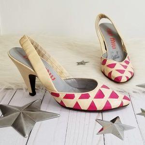 Vintage Miu Miu slingback heels pink nude weave 37